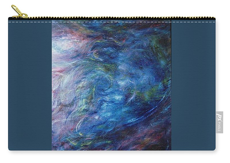 Abstract Carry-all Pouch featuring the painting Whispers In A Sea Of Blue by Nancy Mueller