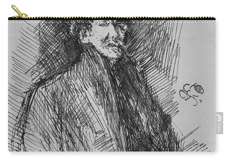 1899 Carry-all Pouch featuring the drawing Whistler, Self-portrait. by Granger