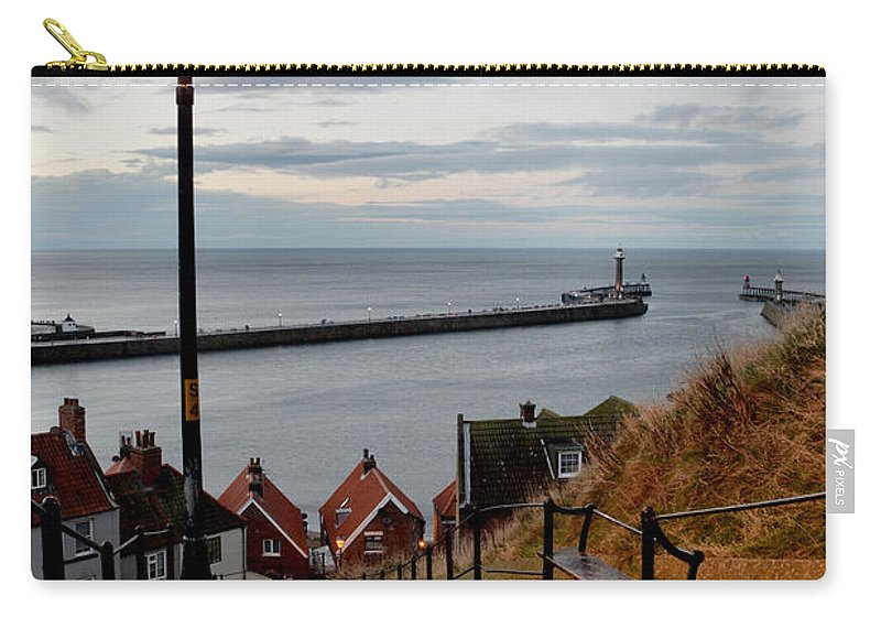 Whitby Carry-all Pouch featuring the photograph Whitby Steps Blue Hour by Sarah Couzens