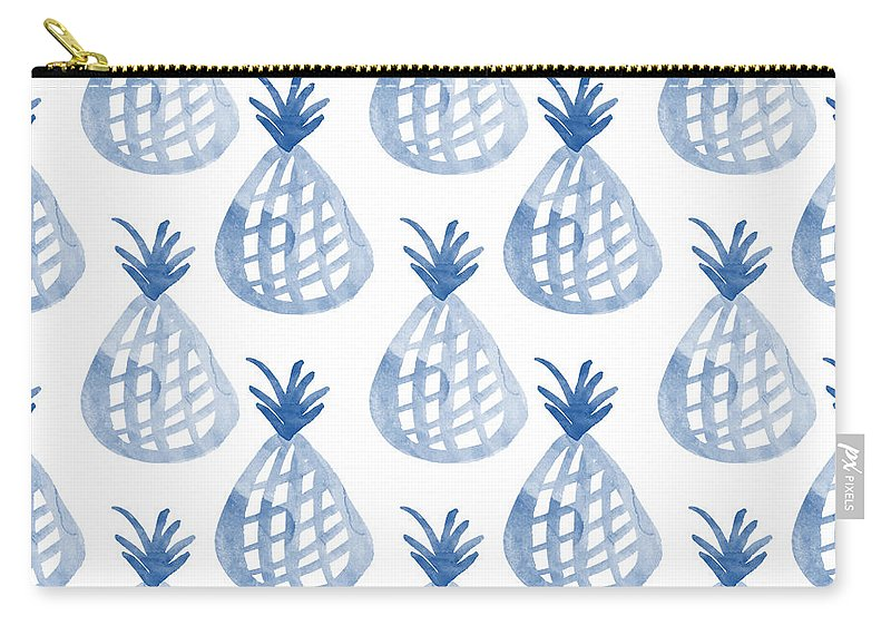 Pineapple Carry-all Pouch featuring the mixed media White And Blue Pineapple Party by Linda Woods
