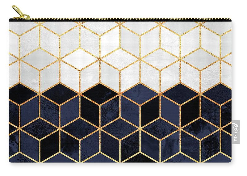 Graphic Carry-all Pouch featuring the digital art White And Navy Cubes by Elisabeth Fredriksson
