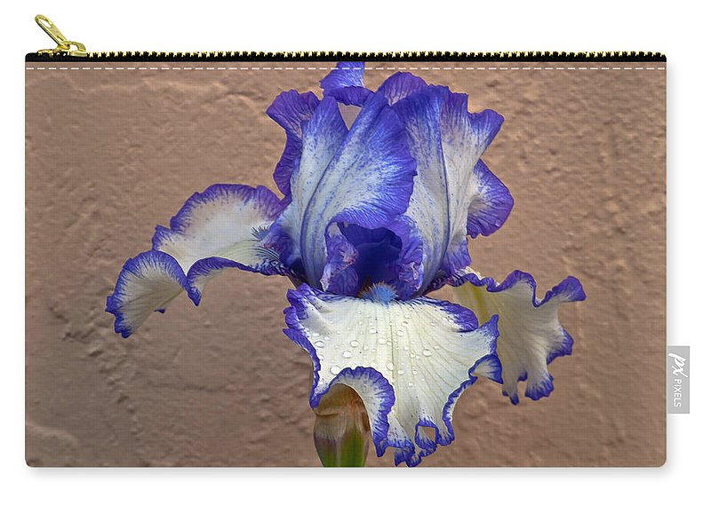 Bearded Carry-all Pouch featuring the photograph White And Purple Bearded Iris by Emerald Studio Photography