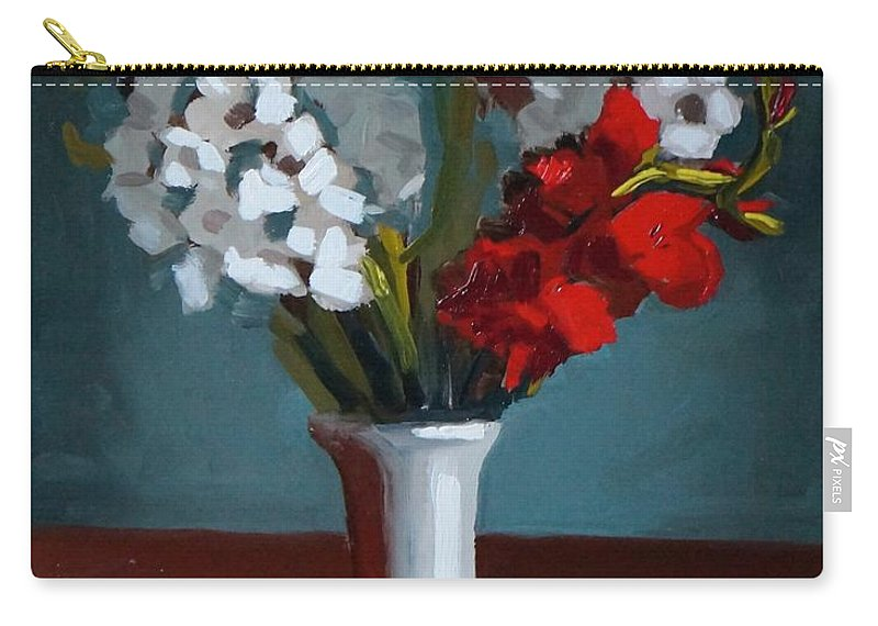 Flowers Carry-all Pouch featuring the painting White And Red Gladioli by Bela Csaszar