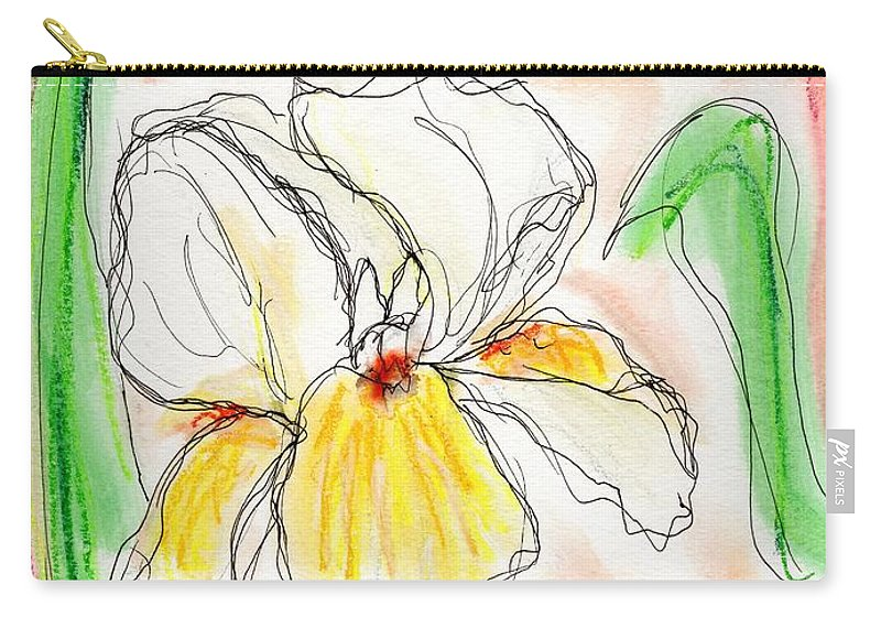 Iris Carry-all Pouch featuring the painting White And Yellow Iris by Christopher O'Kelley