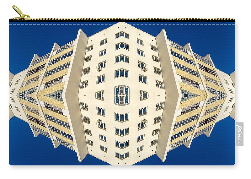 Building Carry-all Pouch featuring the photograph White Apartment Block Abstract And Blue Sky by John Williams
