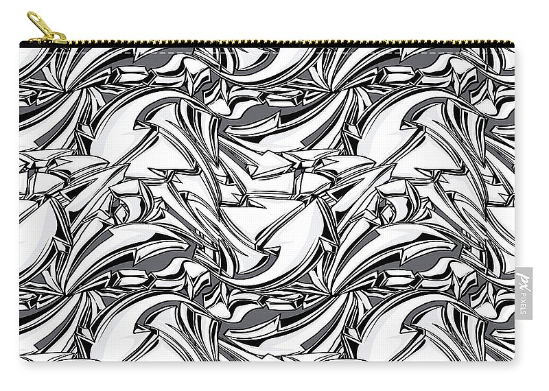 White Carry-all Pouch featuring the digital art White Arrows Seamless Pattern by Long Shot