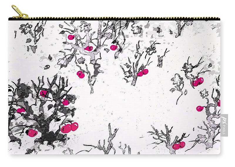 Abstract Carry-all Pouch featuring the digital art White As Snow With Cherries by Rachel Christine Nowicki