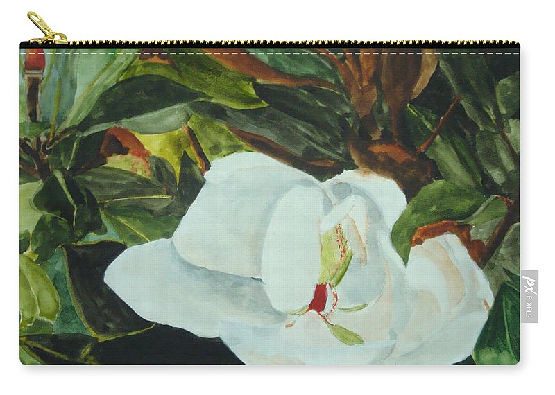 Flower Carry-all Pouch featuring the painting White Beauty by Jean Blackmer