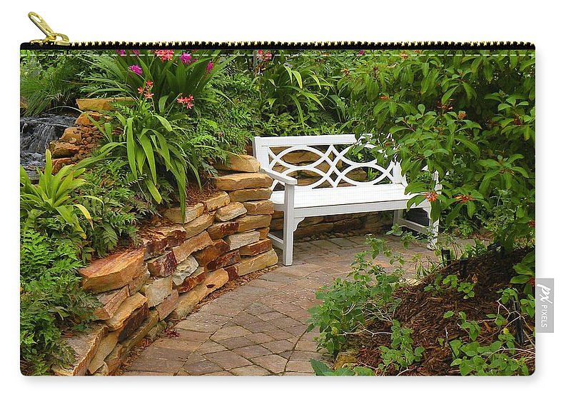 Garden Carry-all Pouch featuring the photograph White Bench In The Garden by Rosalie Scanlon