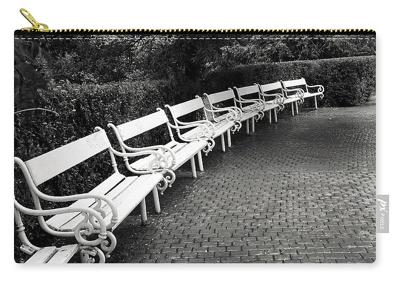 Black And White Carry-all Pouch featuring the photograph White Benches- By Linda Wood Woods by Linda Woods