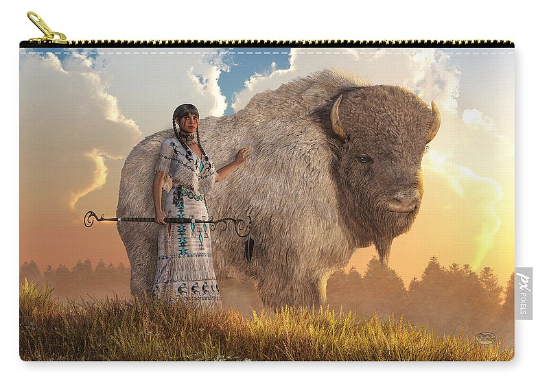 Buffalo For Sale >> White Buffalo Calf Woman Carry All Pouch