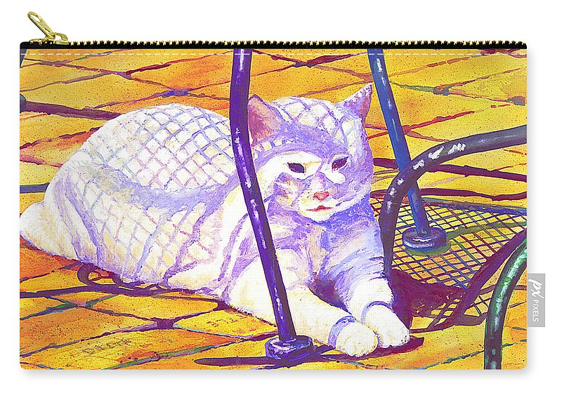 Cat Carry-all Pouch featuring the painting White Cat On Patio by Connie Williams