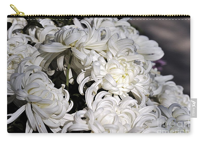 Clay Carry-all Pouch featuring the photograph White Chrysanthemum by Clayton Bruster