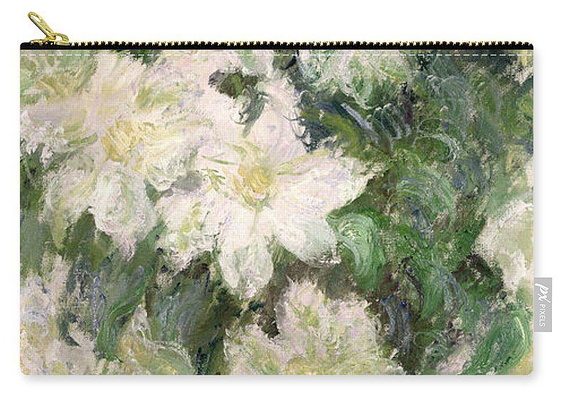 White Clematis Carry-all Pouch featuring the painting White Clematis by Claude Monet