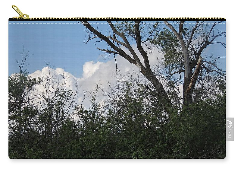 Clouds Carry-all Pouch featuring the photograph White Clouds With Trees by Cindy Freeman