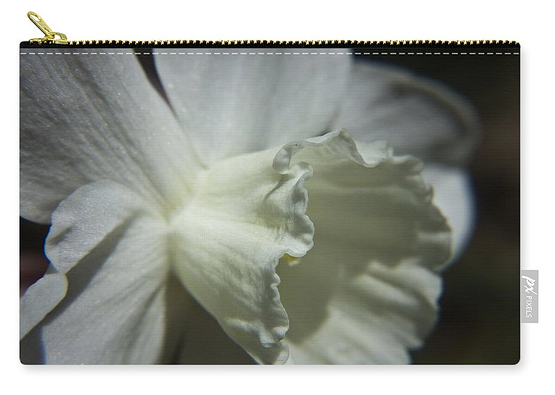 Flower Carry-all Pouch featuring the photograph White Daffodil by Teresa Mucha
