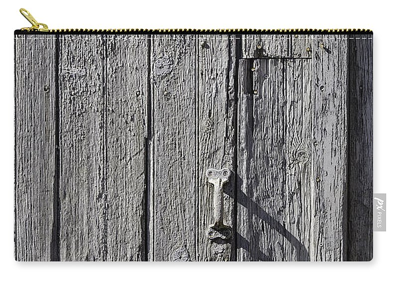 Rusty Carry-all Pouch featuring the photograph White Door Handle by Garry Gay