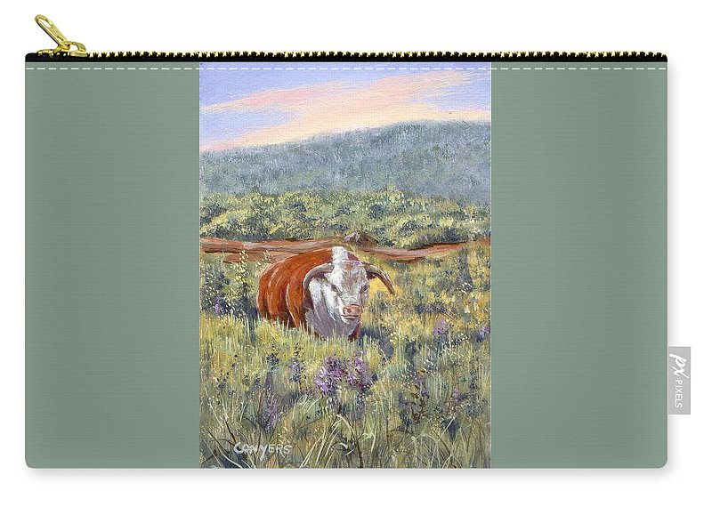 Hereford Bull Carry-all Pouch featuring the painting White Face Bull by Peggy Conyers