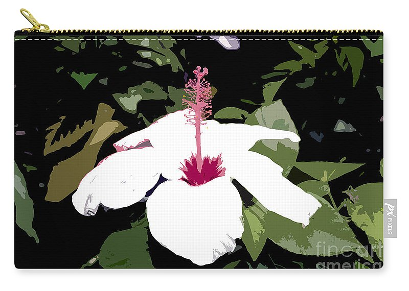 Flower Carry-all Pouch featuring the photograph White Flower Work Number 4 by David Lee Thompson