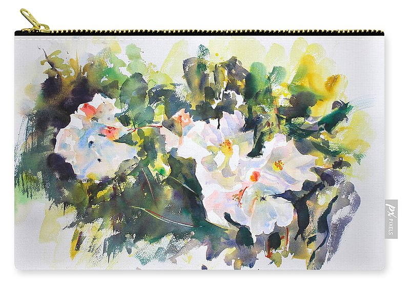 White Flowers Carry-all Pouch featuring the painting White Flowers by Ibolya Taligas