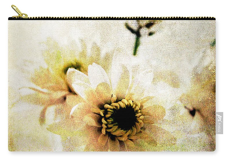 Flowers Carry-all Pouch featuring the mixed media White Flowers by Linda Woods