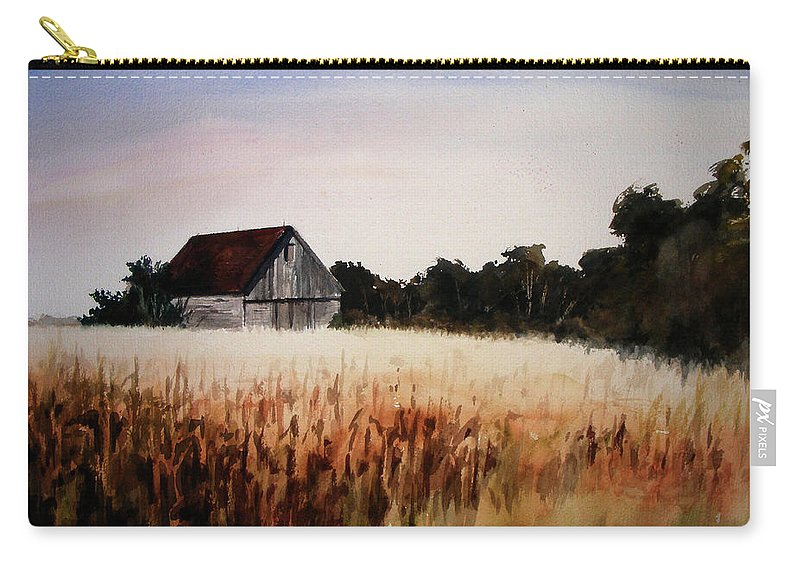 Landscape Carry-all Pouch featuring the painting White For Harvest by Rachel Christine Nowicki