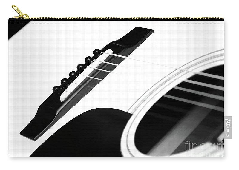 Guitar Carry-all Pouch featuring the photograph White Guitar 10 by Andee Design