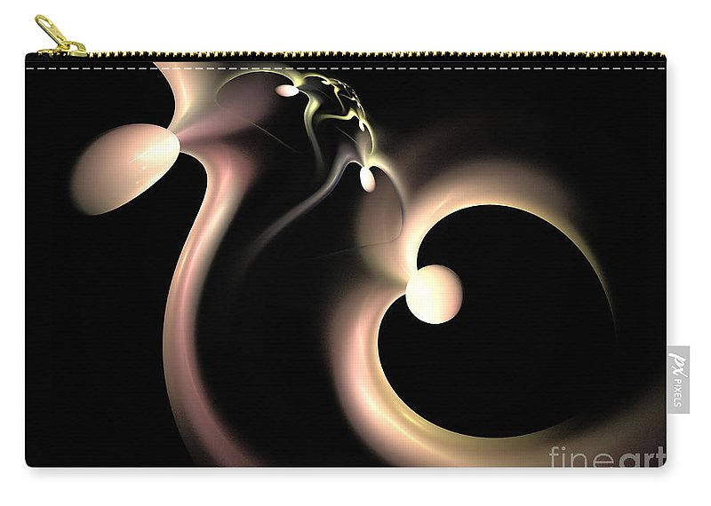 Fractal Carry-all Pouch featuring the digital art White Heart In Abstract by Deborah Benoit