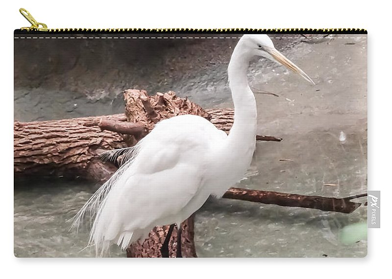 White Heron Carry-all Pouch featuring the photograph White Heron by Cynthia Woods
