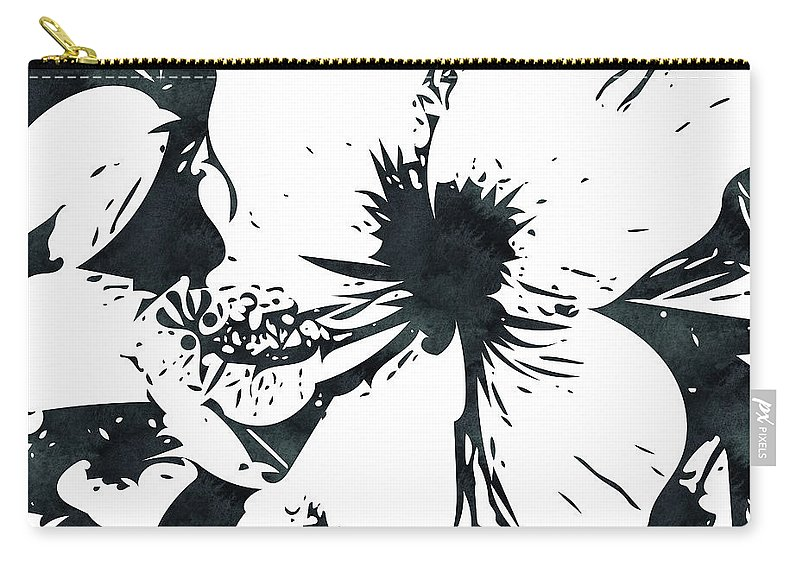 Hibiscus Carry-all Pouch featuring the mixed media White Hibiscus- Art By Linda Woods by Linda Woods