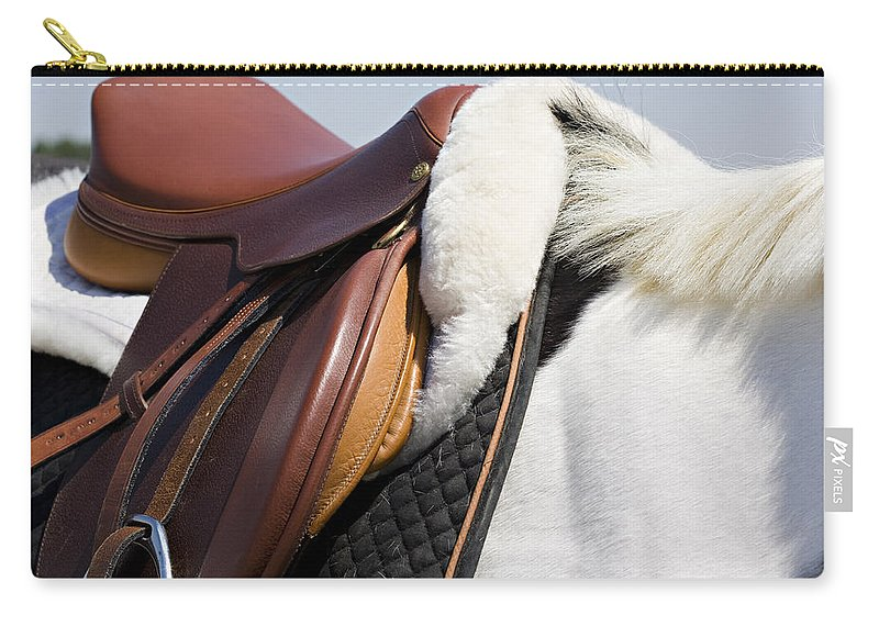 Horse Carry-all Pouch featuring the photograph White Horse And Saddle by Marilyn Hunt