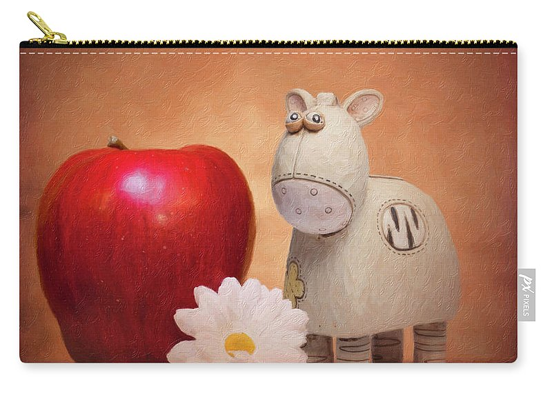 Animal Carry-all Pouch featuring the photograph White Horse with Apple by Tom Mc Nemar