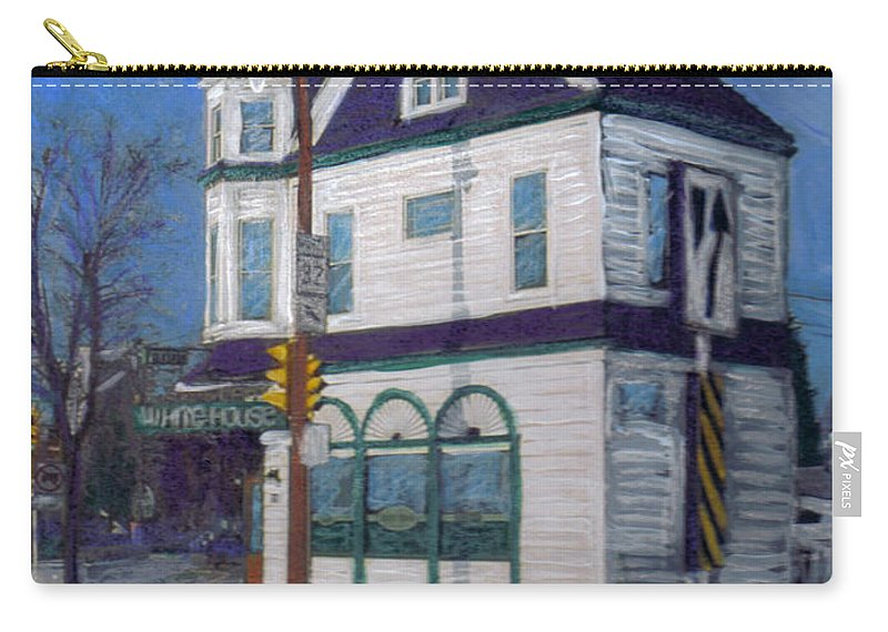 White House Tavern Carry-all Pouch featuring the mixed media White House Tavern by Anita Burgermeister