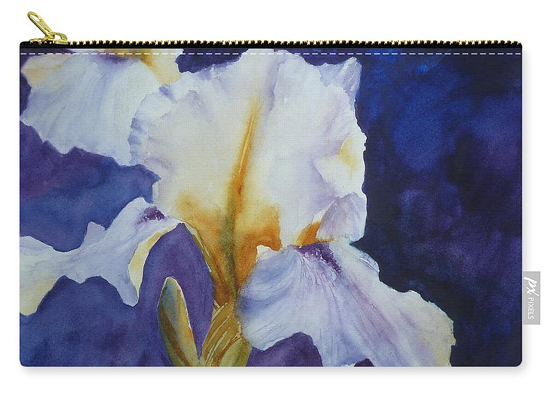 Iris Paintings Carry-all Pouch featuring the painting White Iris by Carolyn Jarvis
