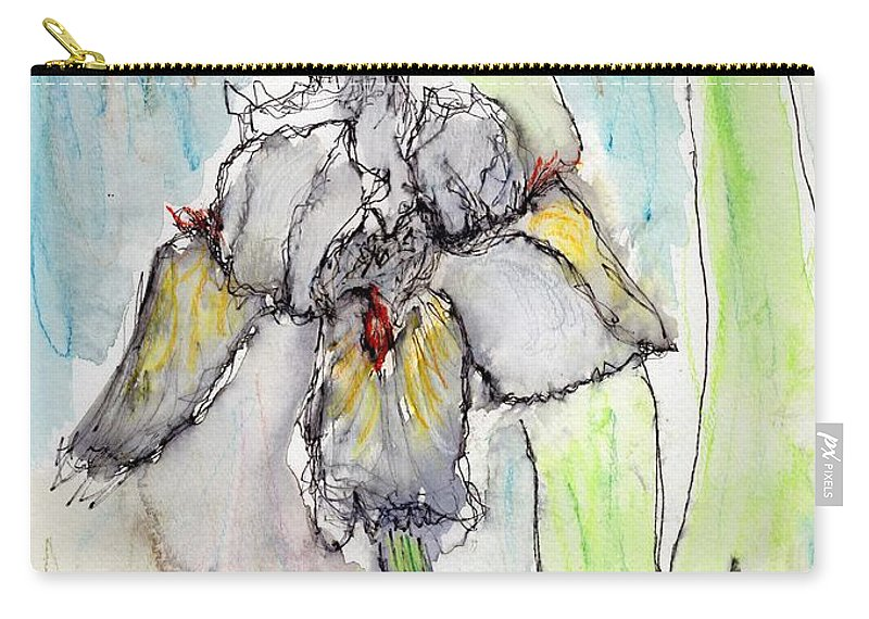 Iris Carry-all Pouch featuring the painting White Iris by Christopher O'Kelley