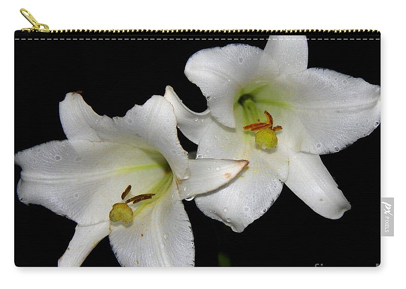 White Lilies Carry-all Pouch featuring the photograph White Lilies by Barbara Bowen