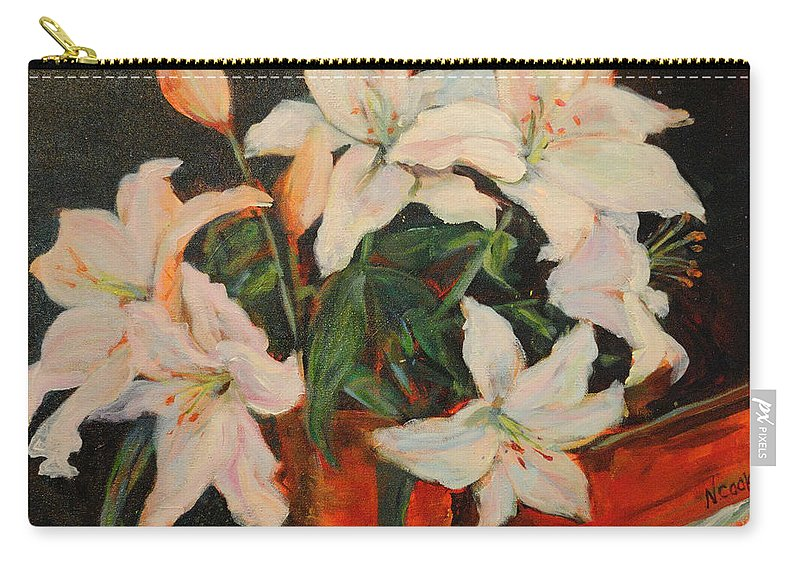 Floral Carry-all Pouch featuring the painting White Lilies by Nanci Cook