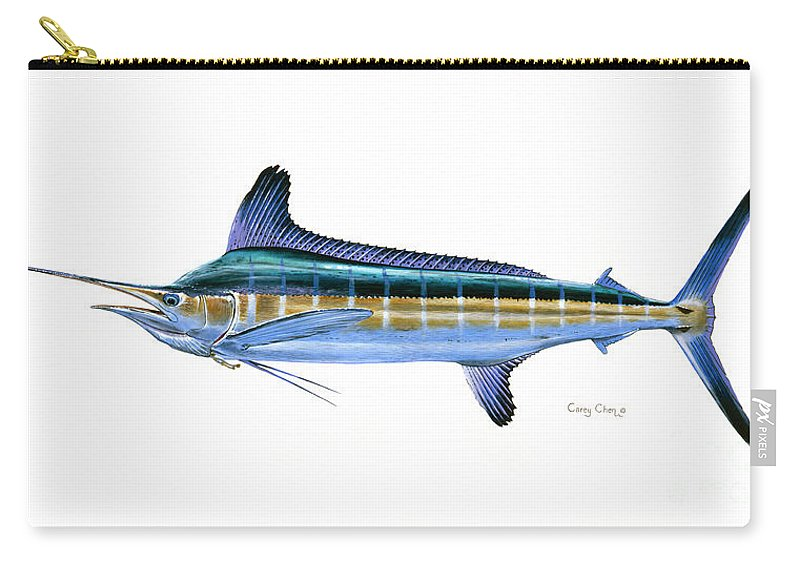 White Marlin Carry-all Pouch featuring the painting White Marlin by Carey Chen