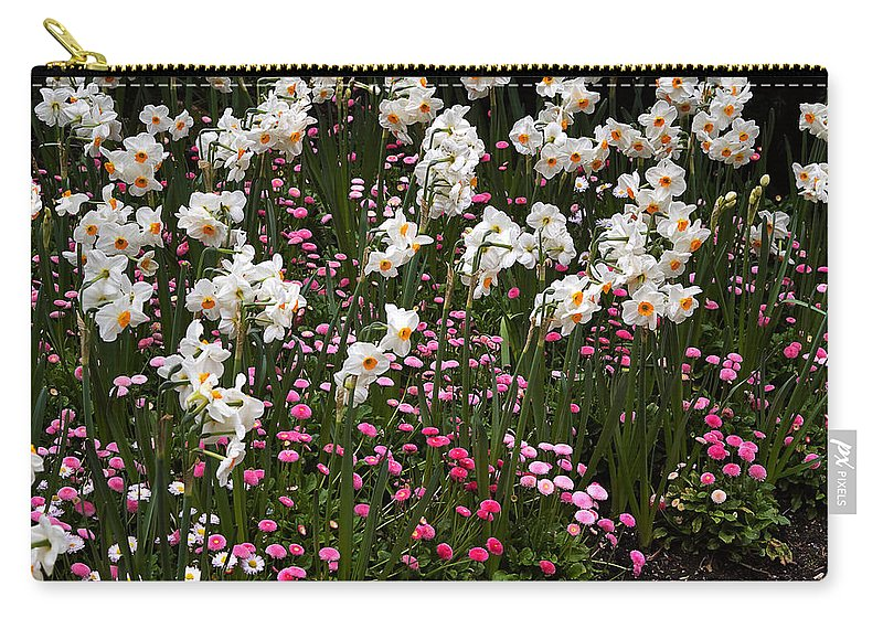 Flower Carry-all Pouch featuring the photograph White Narcissus With Pink English Daisies In A Spring Garden by Louise Heusinkveld