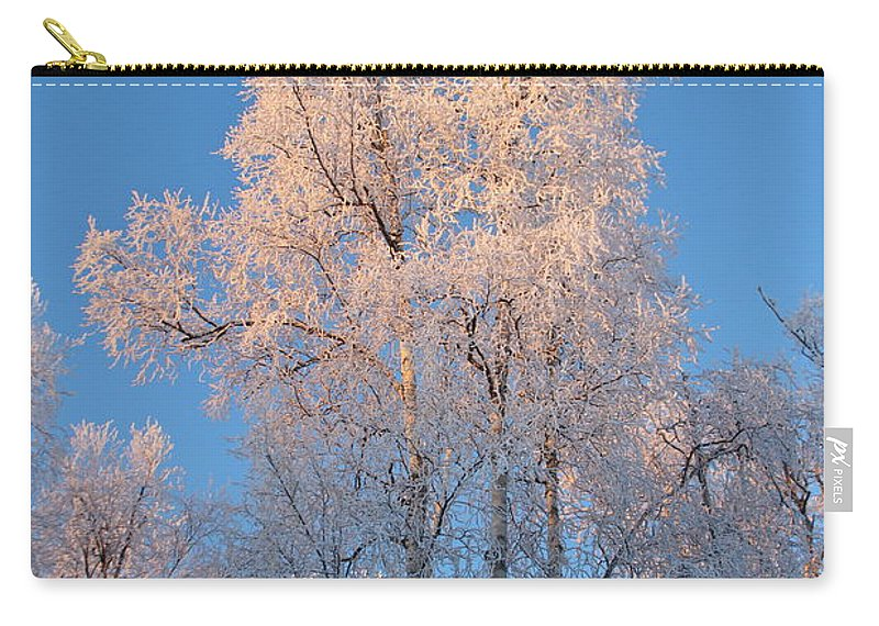 Ice Carry-all Pouch featuring the photograph White On Blue by Rick Monyahan