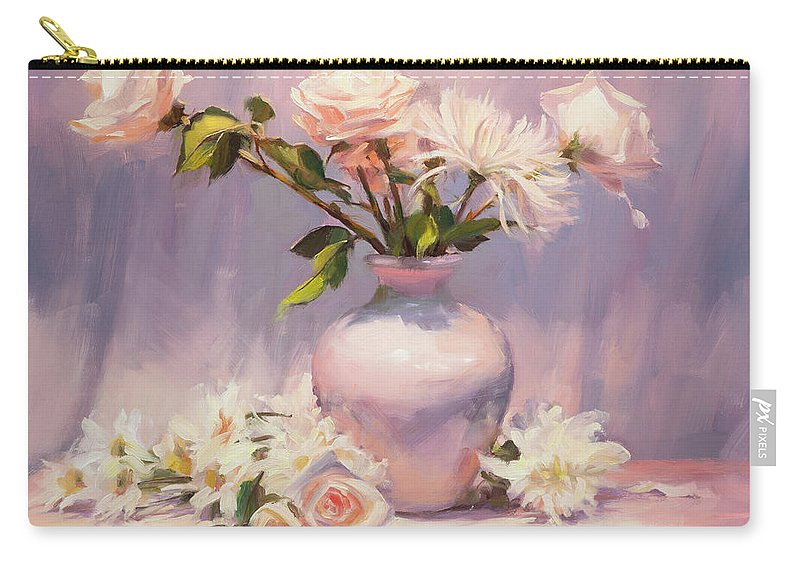 Flower Carry-all Pouch featuring the painting White On White by Steve Henderson