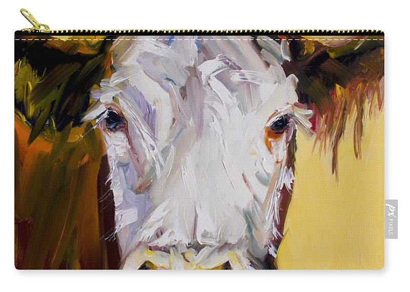 Cow Carry-all Pouch featuring the painting White One by Diane Whitehead