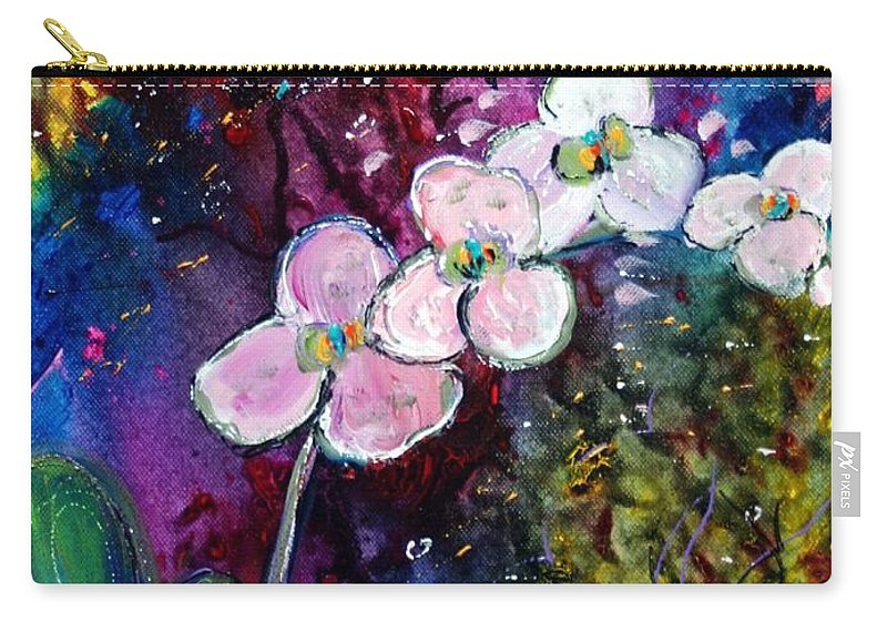 Flowers Carry-all Pouch featuring the painting White Orchid by Luiza Vizoli