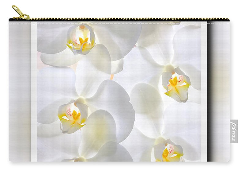 Natural Carry-all Pouch featuring the photograph White Orchids Framed by Jan Brons