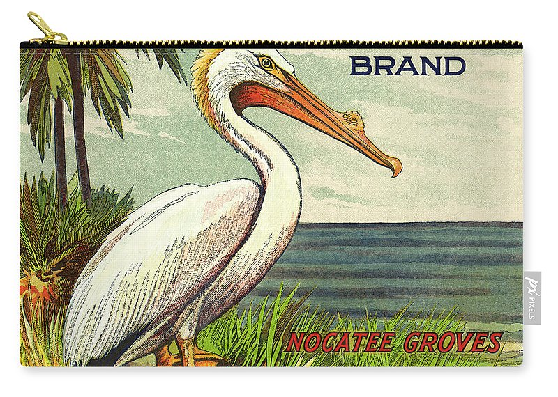 Pelican Carry-all Pouch featuring the photograph White Pelican Fruit Crate Label C. 1920 by Daniel Hagerman
