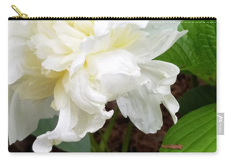 Carry-all Pouch featuring the photograph White Peonia by Teresa Doran