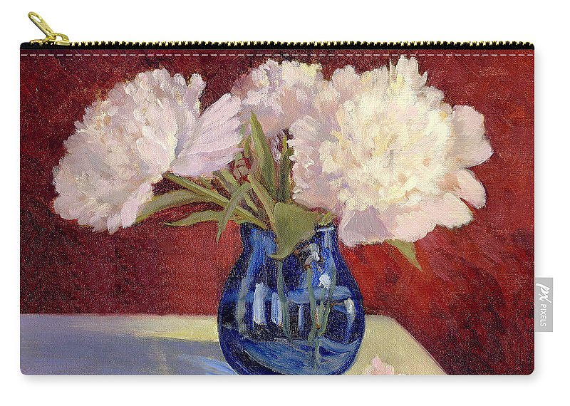 Peonies Carry-all Pouch featuring the painting White Peonies by Keith Burgess