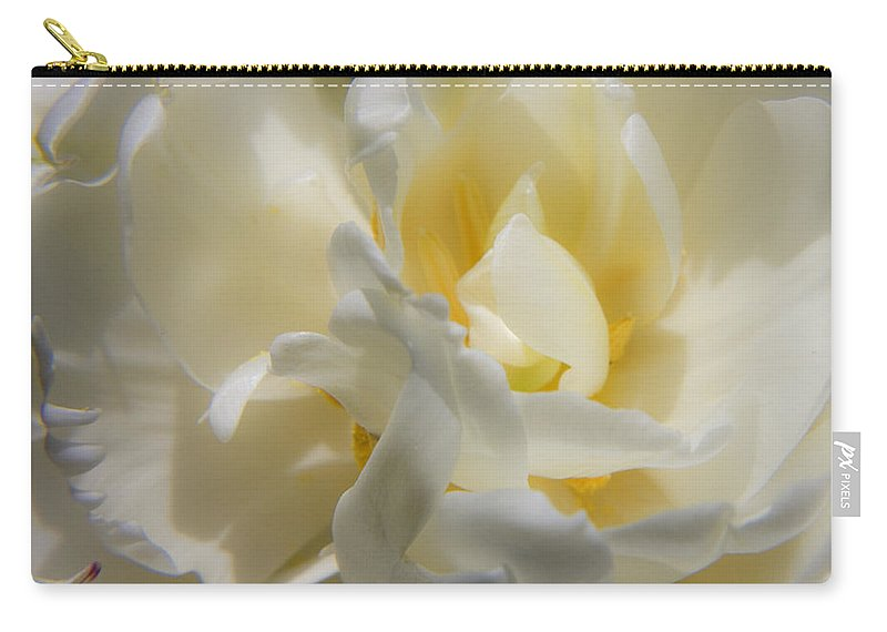 White Carry-all Pouch featuring the photograph White Peony Tulip Detail by Teresa Mucha