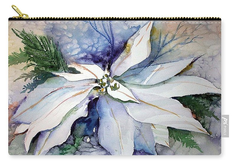 Floral Carry-all Pouch featuring the painting White Poinsettia by Mindy Newman