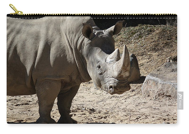 Maryland Carry-all Pouch featuring the photograph White Rhino by Ronald Reid